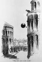 Galileo y sus experimentos desde lo alto de la torre inclinada de Pisa.
