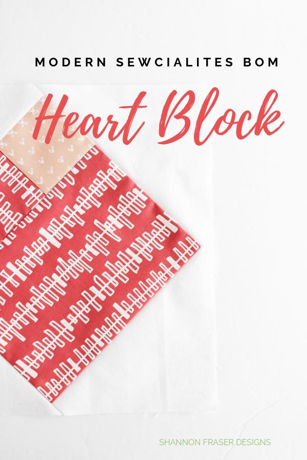 Modern Heart Block from Modern Sewcialites BOM | Shannon Fraser Designs