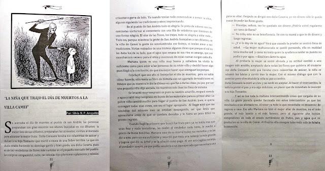 Escaneo de 3 páginas de la historia corta La Niña que trajo el día de muertos a la villa Camei