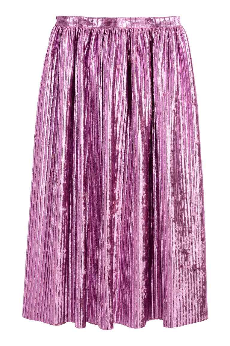 H&M plisowana fioletowa spódnica