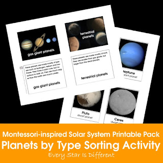Montessori-inspired Solar System Printable Pack: Planets by Type Sorting Activity