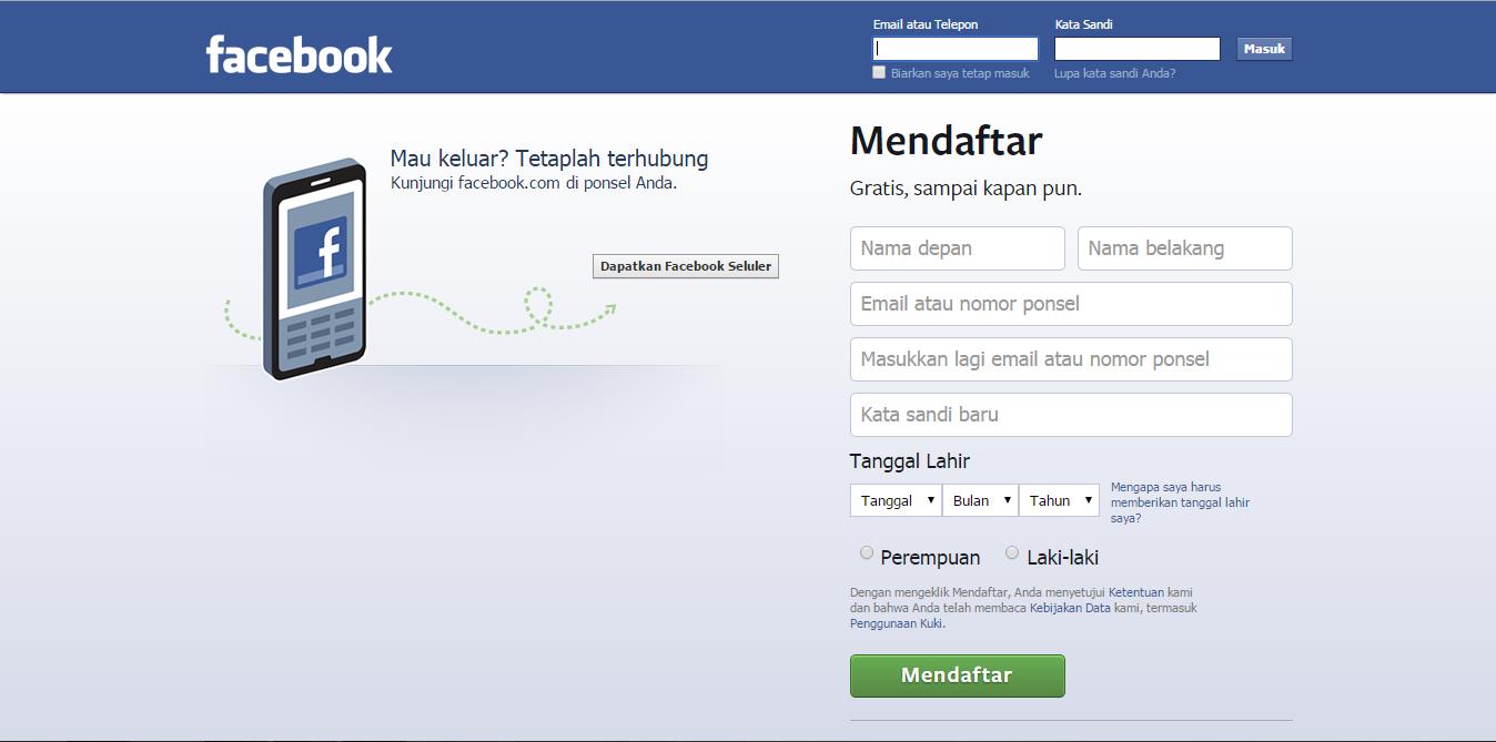 Cara membuat/ mendaftar/ register akun facebook