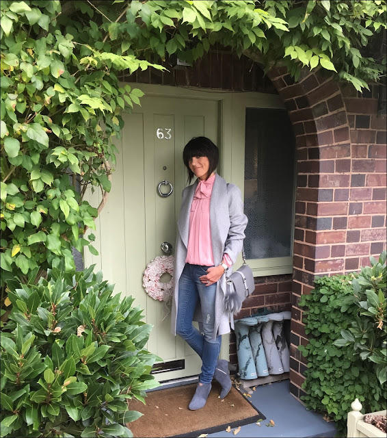 My Midlife Fashion, Laura Ashley tie waist wrap coat, village england fulmer bag, somerset by alice temperleuy bow blouse, hush thornton ankle boots, zara distressed skinny jeans