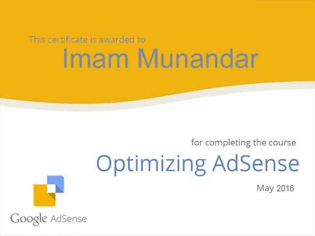 Kursus Google Adsense dan Mendapat Sertifikat Optimasi Adsense for Publisher