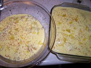 Custard with nutmeg and lemon peel, part of a Victorian trifle.