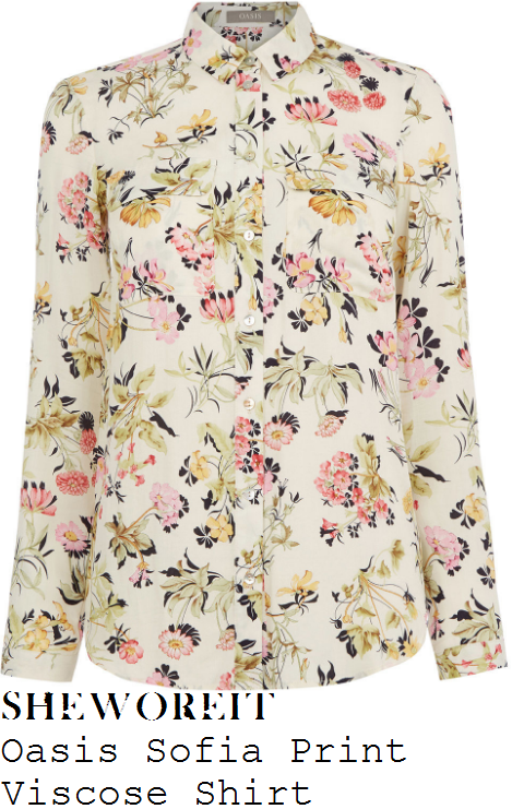 holly-willoughby-oasis-sofia-cream-yellow-pink-and-black-floral-blossom-print-shirt