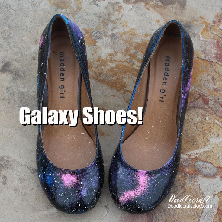 f175734b3f86 Doodlecraft  DIY Painted Galaxy Shoes!