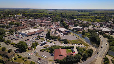 The Riverside Surgery, the Ancholme Way Bridge carrying the A18 over the Old River Ancholme and the Tesco and Bargain Madness stores all feature in this bird's eye view of Brigg by Neil Stapleton - see Nigel Fisher's Brigg Blog January 2019