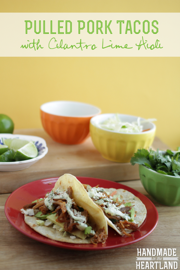 Recipe for pulled pork tacos with cilantro lime aioli
