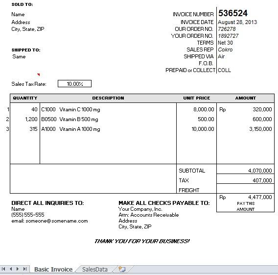 download contoh invoice excel | rabitah, Invoice examples