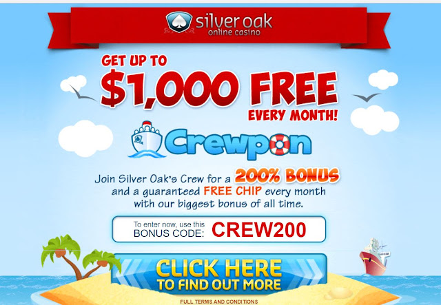 200% no rules bonus and up to $1,000 free monthly | Silver Oak casino