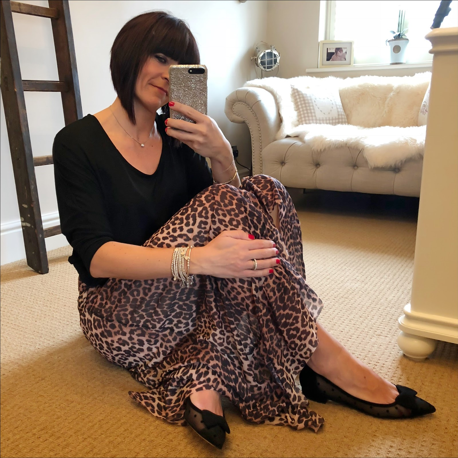 my midlife fashion, splendid draped stretch jersey top, j crew polka dot pointed flats, ganni leopard wrap skirt