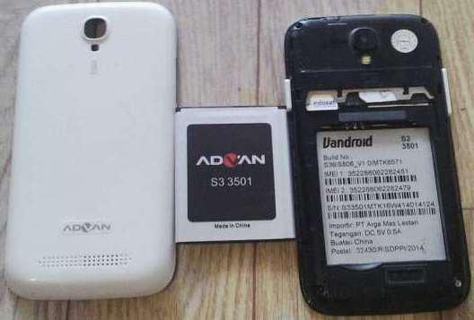 Firmware Advan S3 3501 Build S39/S806_V1.0/MTK6571