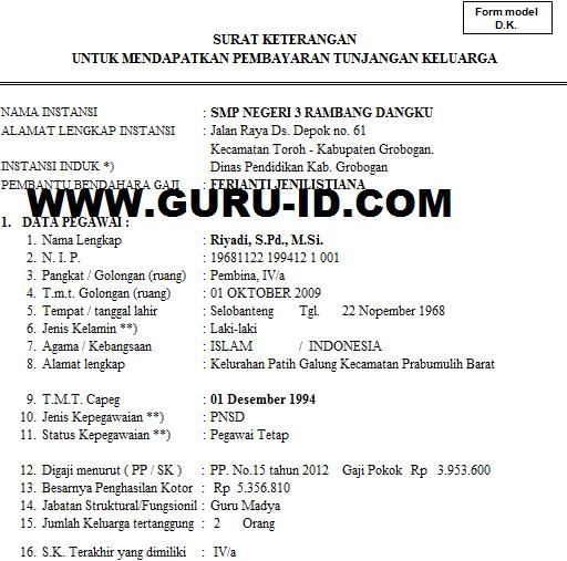 gambar Surat keterangan untuk mendapatkan pembayaran tunjangan keluarga KP 4