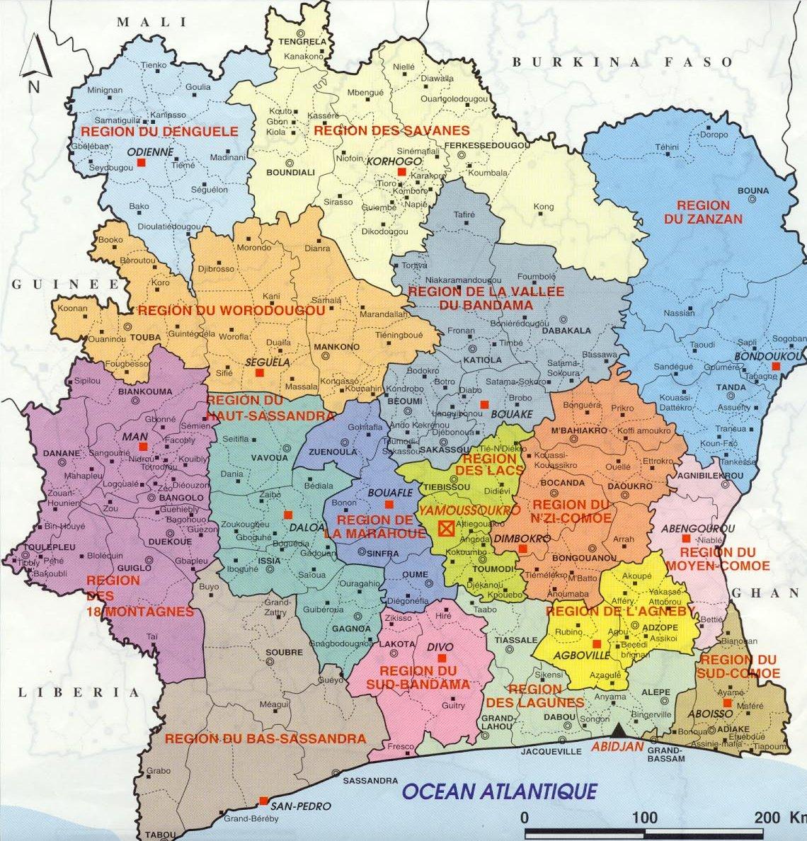 Costa do Marfim   Mapas Geográficos da Costa do Marfim