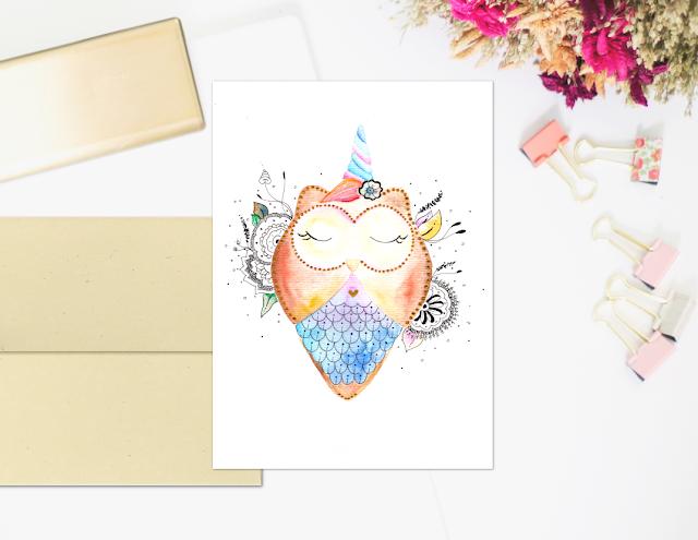 Printable Owl Watercolor