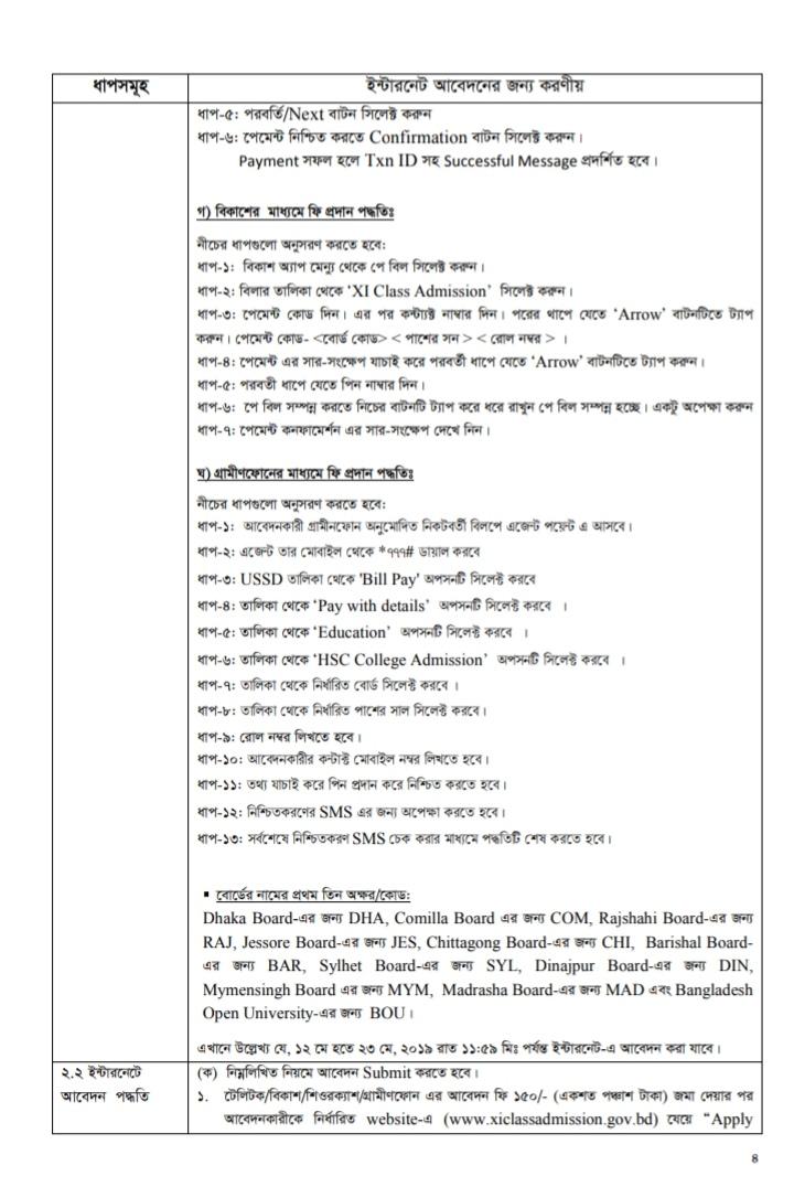 একাদশ শ্রেনিতে ভর্তির নির্দেশিকা ২০১৯-২০২০