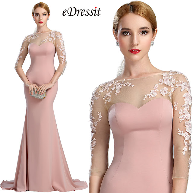 blush long mermaid prom dress