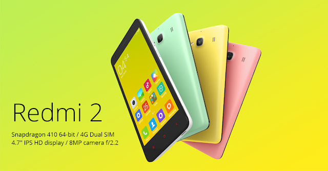 Xiaomi Redmi 2 Specifications - LAUNCH Announced 2015, January DISPLAY Type IPS LCD capacitive touchscreen, 16M colors Size 4.7 inches (~67.6% screen-to-body ratio) Resolution 720 x 1280 pixels (~312 ppi pixel density) Multitouch Yes Protection Corning Gorilla Glass 2 BODY Dimensions 134 x 67.2 x 9.4 mm (5.28 x 2.65 x 0.37 in) Weight 133 g (4.69 oz) SIM Dual SIM (Micro-SIM, dual stand-by) PLATFORM OS Android OS, v4.4.4 (KitKat) CPU Quad-core 1.2 GHz Cortex-A53 Chipset Qualcomm MSM8916 Snapdragon 410 GPU Adreno 306 MEMORY Card slot microSD, up to 32 GB (dedicated slot) Internal 8 GB, 1 GB RAM 16 GB, 2 GB RAM CAMERA Primary 8 MP, f/2.2, 28mm, autofocus, LED flash Secondary 2 MP, 720p Features 1.4 µm pixel size, geo-tagging, touch focus, face/smile detection, HDR Video 1080p@30fps NETWORK Technology GSM / HSPA / LTE 2G bands GSM 900 / 1800 / 1900 - SIM 1 & SIM 2 3G bands HSDPA 850 / 1900 / 2100  TD-SCDMA 1900 / 2100 4G bands LTE band 3(1800), 7(2600), 38(2600), 39(1900), 40(2300), 41(2500) Speed HSPA, LTE Cat4 150/50 Mbps GPRS Yes EDGE Yes COMMS WLAN Wi-Fi 802.11 b/g/n, Wi-Fi Direct, hotspot GPS Yes, with A-GPS, GLONASS, BDS USB microUSB v2.0, USB Host Radio Stereo FM radio Bluetooth v4.0, A2DP, LE FEATURES Sensors Sensors Accelerometer, gyro, proximity, compass Messaging SMS(threaded view), MMS, Email, Push Mail, IM Browser HTML5 Java No SOUND Alert types Vibration; MP3, WAV ringtones Loudspeaker Yes 3.5mm jack Yes BATTERY  Removable Li-Po 2200 mAh battery Stand-by  Talk time  Music play  MISC Colors Black, White, Yellow, Pink, Green SAR US - MIUI 6.0 - Fast battery charging: 30% in 30 min (Quick Charge 1.0) - Active noise cancellation with dedicated mic - MP4/H.264 player - MP3/WAV/eAAC+/FLAC player - Photo/video editor  - Document viewer