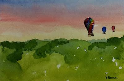 Watercolor - Morning Balloon Ride