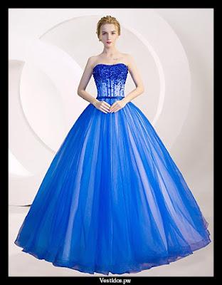 vestidos de 15 ańos azul