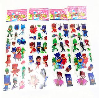 10 fogli stickers adesivi Pj Masks idea regalo gadget fine festa compleanno bambina