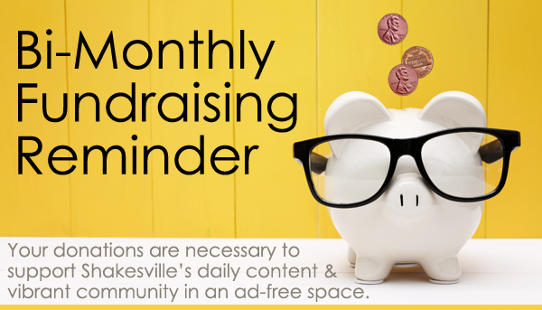 image of a white piggy bank wearing black glasses, into which three pennies are falling, accompanied by text reading: 'Bi-Monthly Fundraising Reminder | Your donations are necessary to support Shakesville's daily content & vibrant community in an ad-free space.'