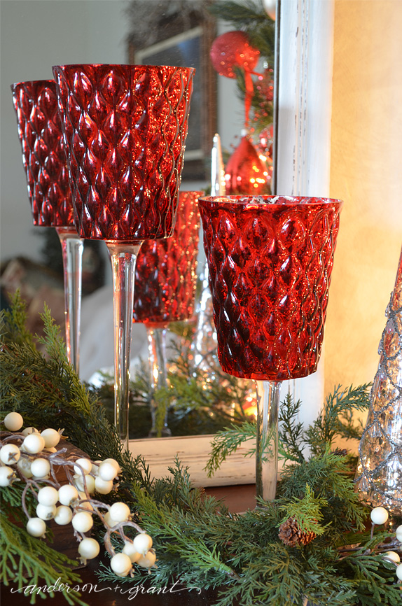 Red mercury glass candlesticks | www.andersonandgrant.com