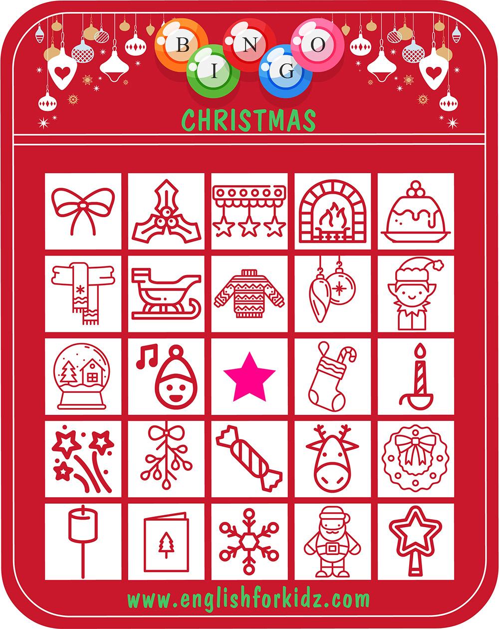 photograph relating to Printable Christmas Bingo Cards named ESL Xmas Bingo Activity