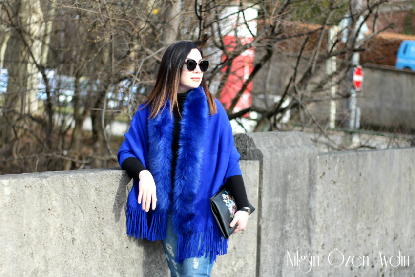 alışveriş-Mavi Kürklü Hırka ve Mavi Stiletto-moda blog-fashion blog