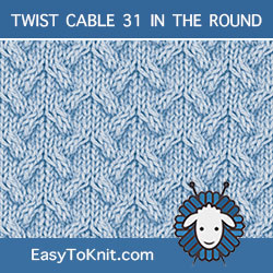 Arched Cable stitch, easy to knit in the round