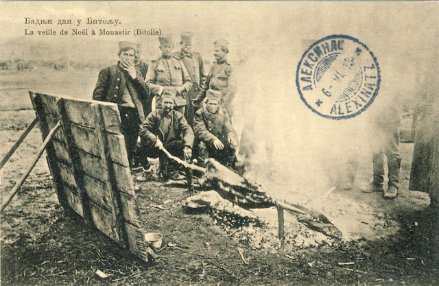 Serbian soldiers celebrate Christmas Eve (January 6th 1913) in Bitola during the First Balkan War