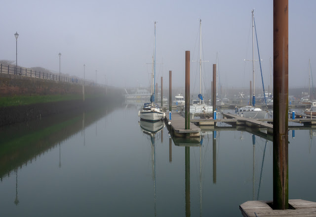 Photo of calm, misty conditions at Maryport Marina on Sunday morning