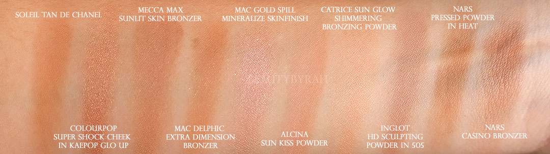 My top 10 favourite bronzers and contouring powders swatch