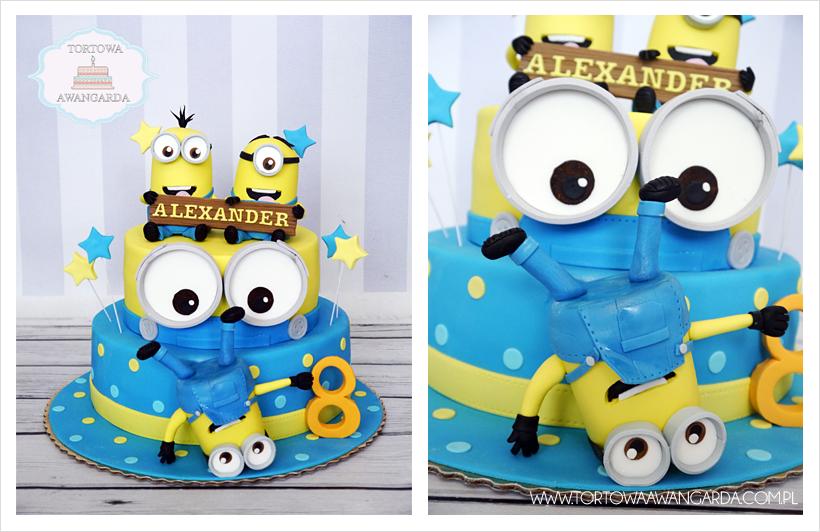 domowy kolorowy tort z Minionkami przygotowany na urodziny chłopca Warszawa