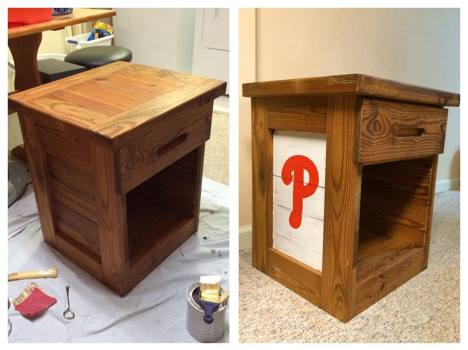 Second Chances This End Up Night Table Makeover To Baseball Theme