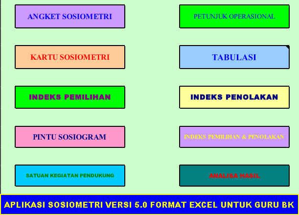 APLIKASI SOSIOMETRI VERSI 5.0 FORMAT EXCEL UNTUK GURU BK