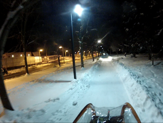 Low 20s, snow and ice covered paths at night?