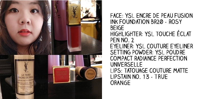 YSL Beauty masterclass Douglas store in Rotterdam Netherlands YSL Encre de Peau ink foundation BR20 rosy beige touche eclat pen no. 2 eyeliner setting powder tatouage couture lipstain matte no. 13 true orange