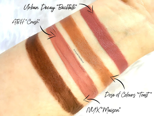 Urban Decay Backtalk swatch, dose of colours toast swatch, abh crush swatch, nyx maison swatch