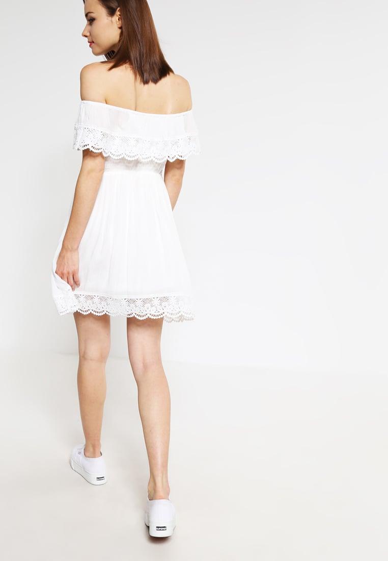 sukienka bez ramiączek, biała sukienka, ubrania boho