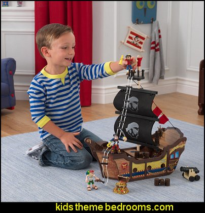 KidKraft Pirate Ship Play Set  pirate bedrooms - pirate themed furniture - nautical theme decorating ideas - pirate theme bedroom decor - Peter Pan - Jake and the Never Land Pirates - pirate ship beds - boat beds - pirate bedroom decorating ideas - pirate costumes