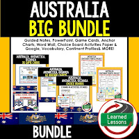 World Geography Australia Bundle, Anchor Charts, Games, Guided Notes, Digital Choice Boards, Google Classroom, Word Walls
