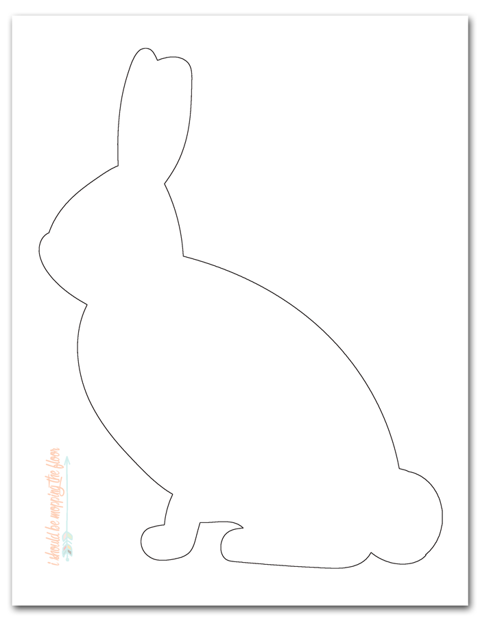 DIY Frayed Edge Appliqué Pillow: Sweet little bunny pillow made from a canvas drop cloth and men's shirt. Free printable bunny template available, too.