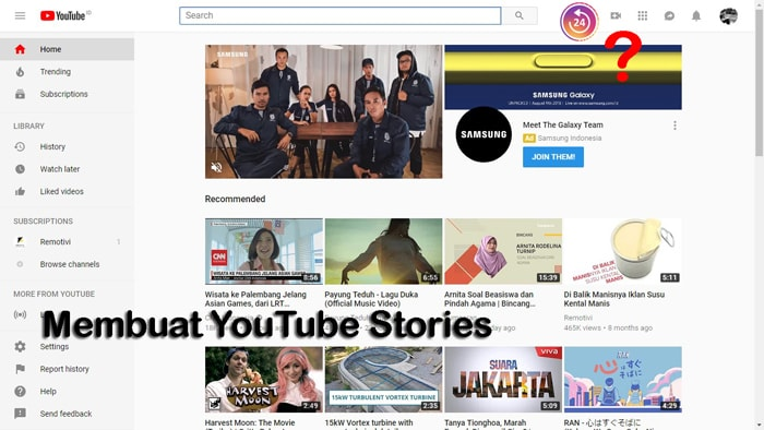 cara membuat youtuber stories