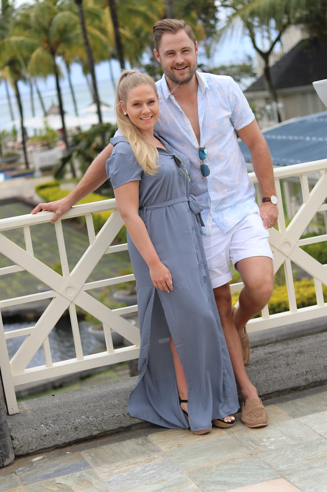 Katie Heath wearing a Boohoo dress with Ben Heath at the Heritage Le Telfair Hotel, Mauritius