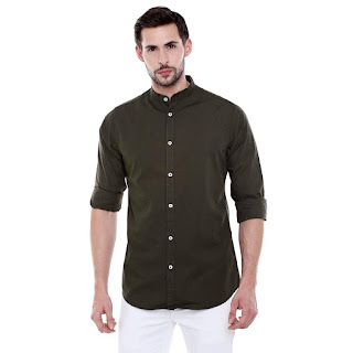 this image relates Dennis Lingo Men's Solid Chinese Collar Green Casual Shirt
