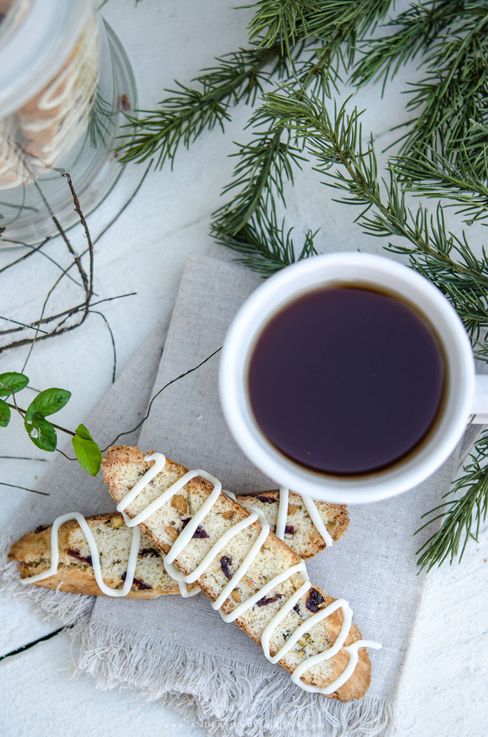 Coffee and biscotti on cloth napkin