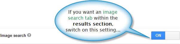 Image search tab option within basics tab of CSE dashboard.