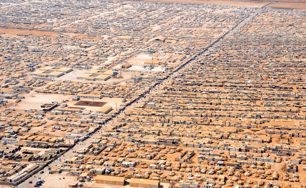 A close-up view of the Za'atri camp for Syrian refugees as seen on July 18, 2013, from a helicopter.